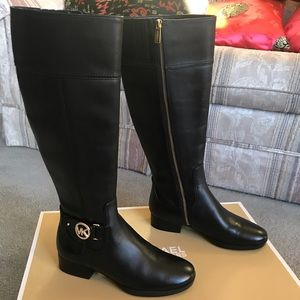 NWT Michael Kors Leather Knee High Riding Boots